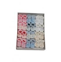 Baby booties set Papa-Mama pink+blue+white+beige (12 pair)