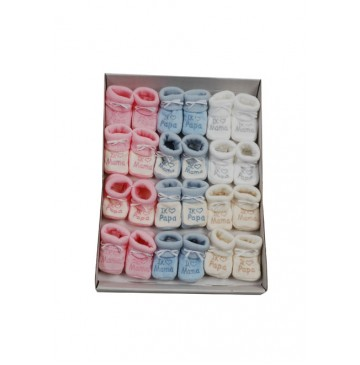 Baby booties set Papa-Mama pink+blue+white+beige (12 pair)