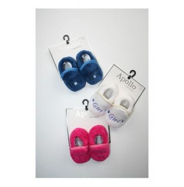Baby Booties Boys-Girls blue+eclips+fuchsia+white (6 pair)