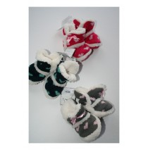 Baby booties Hearts raspberry-grey-eclips (3 pcs)