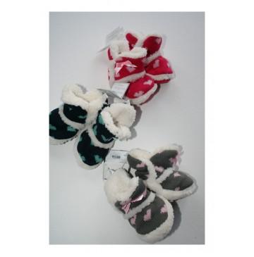 Baby booties Hearts raspberry-grey-eclips (3 pcs)