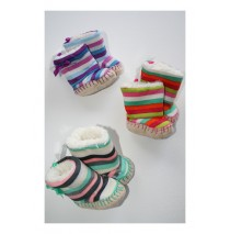 Baby booties stripes purple (3 pcs)