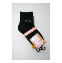 Girls Ankle Socks Strass Sweet Love black (4 sets of 3 pcs)