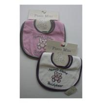 Mama's kleine teddybeer set slabbetjes offwhite+pink (4 slabbetjes)