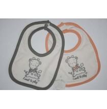 Baby bibs Giraffe set orange+grey (4 pcs)