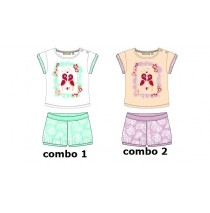 130404 Encounter baby girls set shirt+short combo 2 pink dogwood (4 pcs)