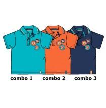 130729 Encounter baby boys polo combo 3 medieval blue (4 pcs)