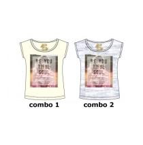 131085 Encounter teen girls shirt combo 2 light grey melange (6 pcs)