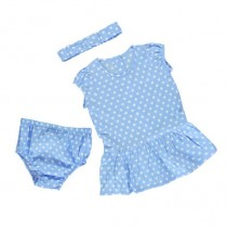 Baby girls set dress+bloomer+hairturban combo 1 vista blue (4 pcs)