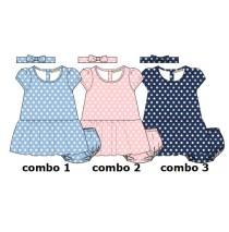 Baby girls set dress+bloomer+hairturban combo 3 medieval blue (4 pcs)