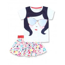 131402 Riviera small girls set: skirt+shirt optical white (5 pcs)