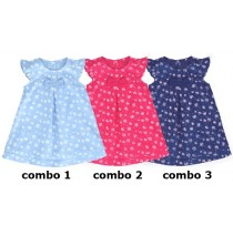 131421 Baby girls dress combo 3 medieval blue (4 pcs)