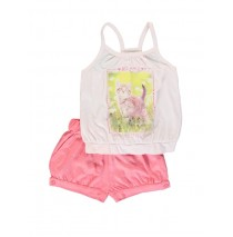 131729 Pauze small girls set: singlet+short pink dogwood (5 pcs)