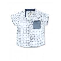 Digital wave small boys shirt optical white (5 pcs)