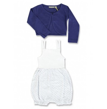 133120 Baby girls set overall+cardigan combo 1 medieval blue (4 pcs)