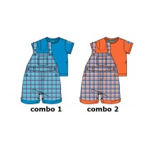 133189 Riviera baby boys set shirt+overall combo 2 deep sea coral (4 pcs)