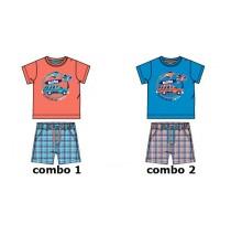 133190 Riviera baby boys set shirt+bermuda combo 2 french blue (4 pcs)