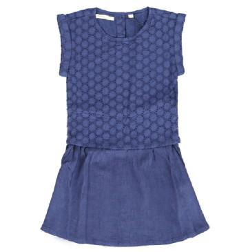 Small girls dress medieval blue (5 pcs)