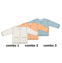 Infusion baby girls cardigan combo 2 salmon (4 pcs)