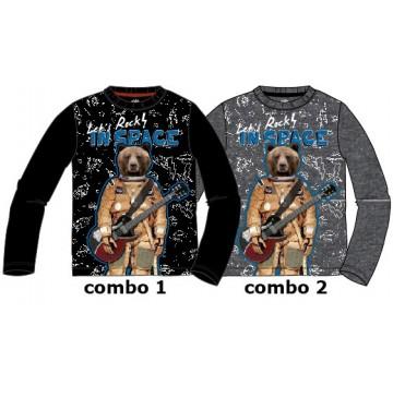 134598 Earthed small boys shirt combo 2 dk grey melange (6 pcs)