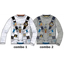 134609 Earthed small boys shirt combo 2 grey melange (6 pcs)