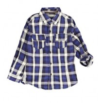 134658 Earthed small boys blouse combo 1 blue checks (6 pcs)