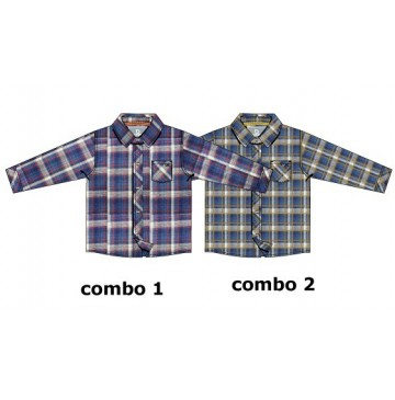 134661 Earthed blouse baby boys blouse combo 2 chai tea (4 pcs)