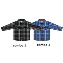 Infusion blouse baby boys blouse combo 2 nautical blue checks (4 pcs)