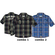 Earthed small boys blouse combo 2 nautical blue checks (6 pcs)