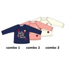 Design matters baby girls shirt combo 3 marshmallow (4 pcs)