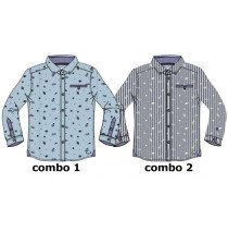 Earthed small boys blouse  combo 2 total eclipse (6 pcs)