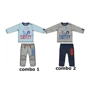 Infusion baby boys set combo 2 grey melange (4 pcs)