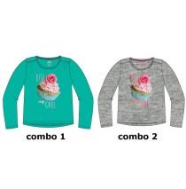 135533 Design Matters small girls shirt combo 2 grey melange (6 pcs)