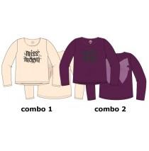 Nocturne small girls shirt combo 2 amaranth (6 pcs)