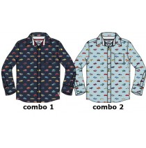 135587 Infusion small boys blouse combo 2 chambray blue (6 pcs)