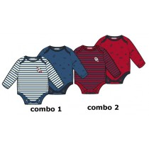 baby boys romper two-pack combo 2 scarlet sage (6 pcs)