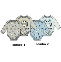 baby boys romper two-pack combo 2 chambray blue (6 pcs)