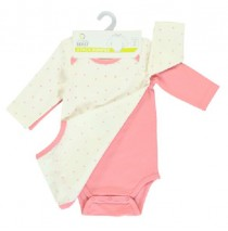 135616 baby girls romper two pack combo 1 flamingo pink (6 pcs)
