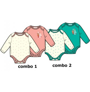 baby girls romper two pack combo 2 enamel blue (6 pcs)