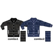 Earthes teen boys cardigan combo 2 blue melange (6 pcs)