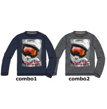 135753 Earthed teen boys shirt combo 2 dark grey melange (6 pcs)
