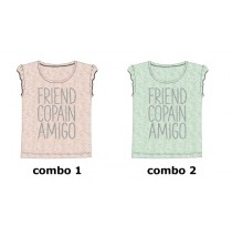 136360 Mermaids small girls shirt combo 2 blue tint (6 pcs)