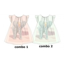 Kinship baby girls dress combo 2 blue tint (4 pcs)