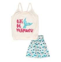 136774 Mermaids small girls set: singlet+skirt combo 2 blue tint (6 pcs)