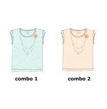 Kinship small girls shirt  combo 2 speckle prairie sunset (6 pcs)