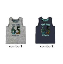Psychotropical small boys singlet combo 2 blue nights (6 pcs)