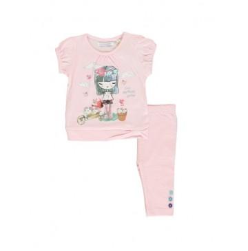137205 Psychotropical baby girls set: shirt+legging combo 1 orchid pink (4 pcs)