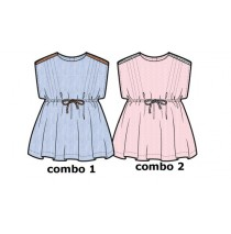 Kinship baby girls dress combo 2 strawberry cream (4 pcs)