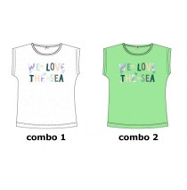Mermaids small girls shirt  combo 2 jade cream (4 pcs)