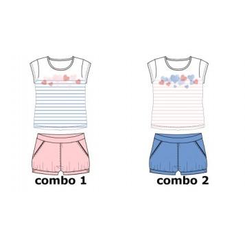 Mermaids small girls set: singlet+short combo 1 blue (6 pcs)